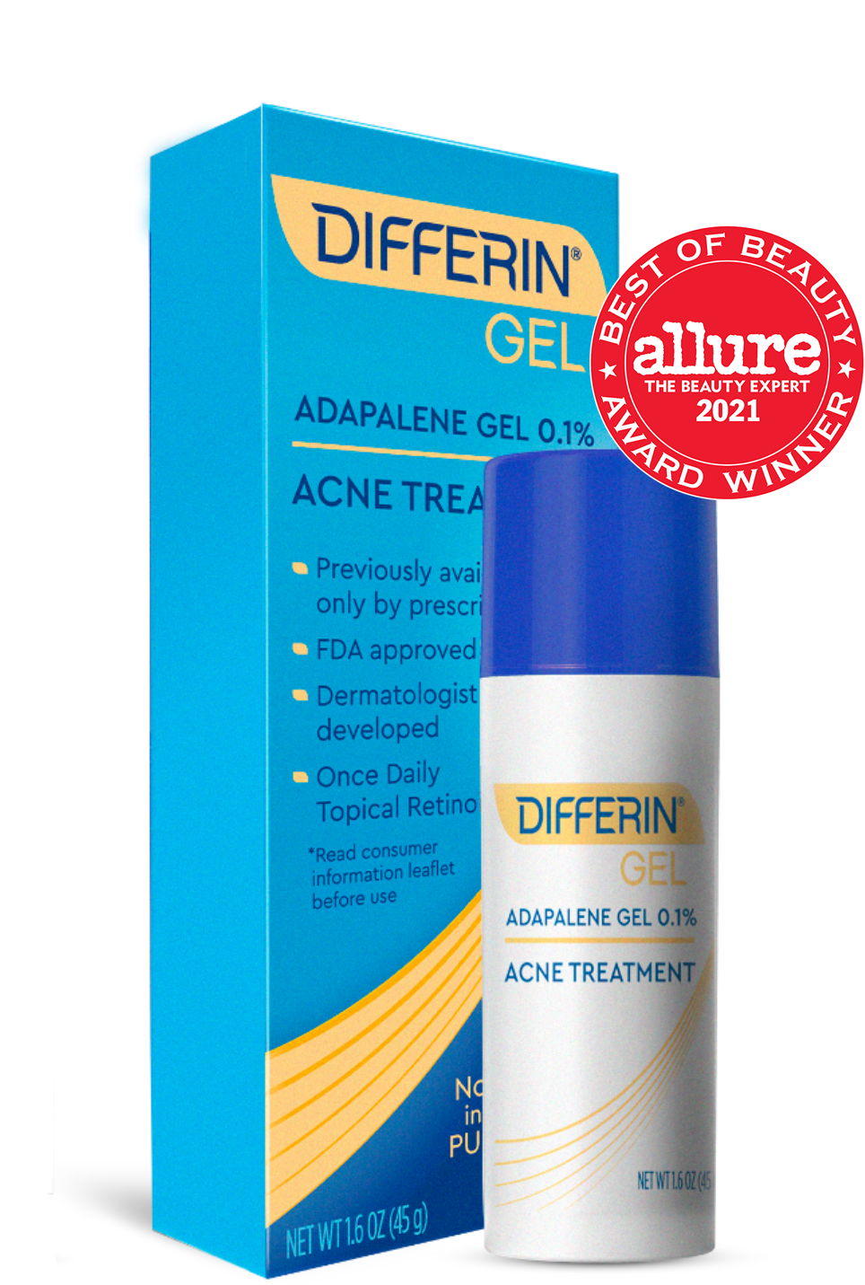 Learn more about Differin Gel (adapalene 0.1%). 2020 Allure Best of Beauty Award Winner
