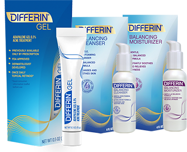 Differin Gel, Differin Balancing Cleanser and Differin Balancing Moisturizer packaging